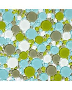 Bubble Glass Mosaic Tile, Green Blue mix, TileDaily
