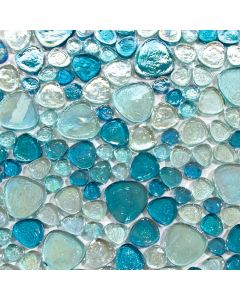 Iridescent Pebble Glass Mosaic, Blue