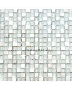 Small Square Marble and Glass Mosaic, White