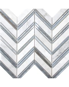 Chevron Mix Marble Mosaic, Blue