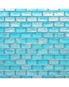 Iridescent brick glass mosaic tile, turquoise, 1x2