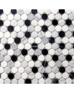 Marble Penny Round Mosaic, Black and White Mix