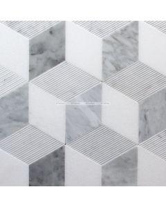 Cube Illusion Marble Mosaic