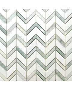 Chevron Mix Marble Mosaic, Green