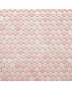 Glossy Penny Round Mosaic Tile, Light Pink
