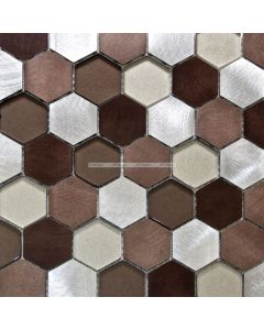 Aluminum and Glass Hexagon Mosaic
