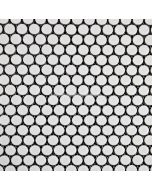 Penny Round Porcelain Mosaic, White, Glossy