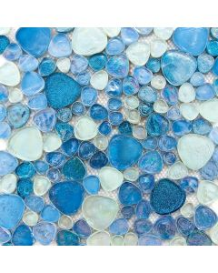 GM0157 Iridescent Glitter Pebble Mosaic, Blue